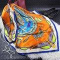 Tamaño grande 110X110 cm Alta Calidad Prensa de Impresión Bufanda de Seda Pura de Primavera Nuevas Mujeres Del Estilo Señoras de La Manera Larga mantón de SA