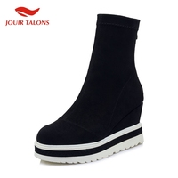 Brand Genuine Leather Ladies Wedges High Heels Platform Shoes Woman Casual Soft Autumn Ankle Boots Sock Boots Women Shoes