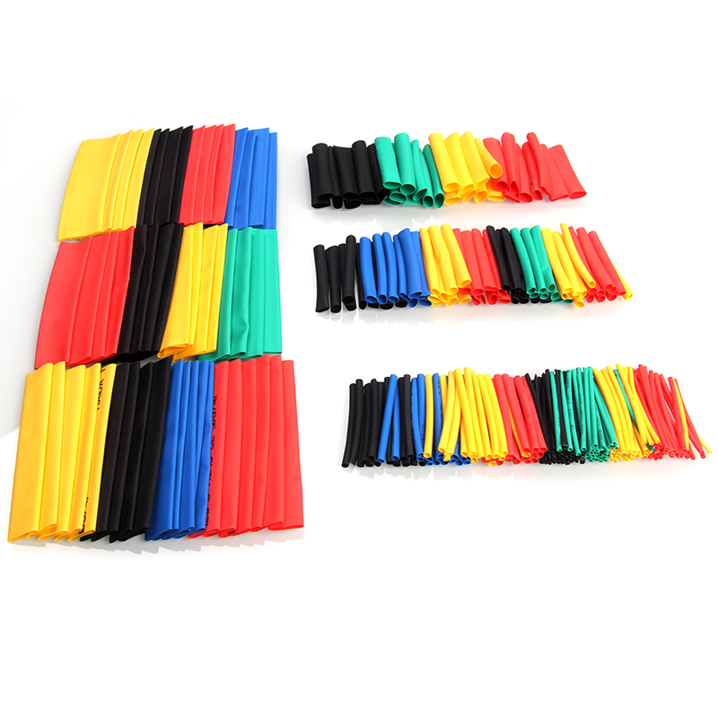 70/127/328/530Pcs Assorted Polyolefin Heat Shrink Tubing Tube Cable Sleeves Wrap Wire Set 8 Size Multicolor/Black