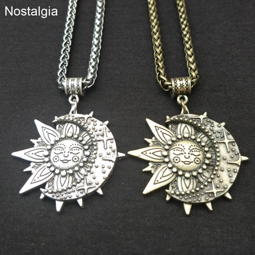 Wiccan Sun Moon Star Yoga Necklace Women Mandala Lotus Flower Wicca Witchcraft Witch Jewelry Neckless Spiritual Indian Jewelery