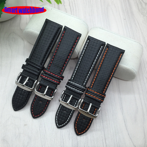 18mm 20mm 22mm 24mm Black Red Stitching Carbon Fiber Leather Watch Band strap sport(China)