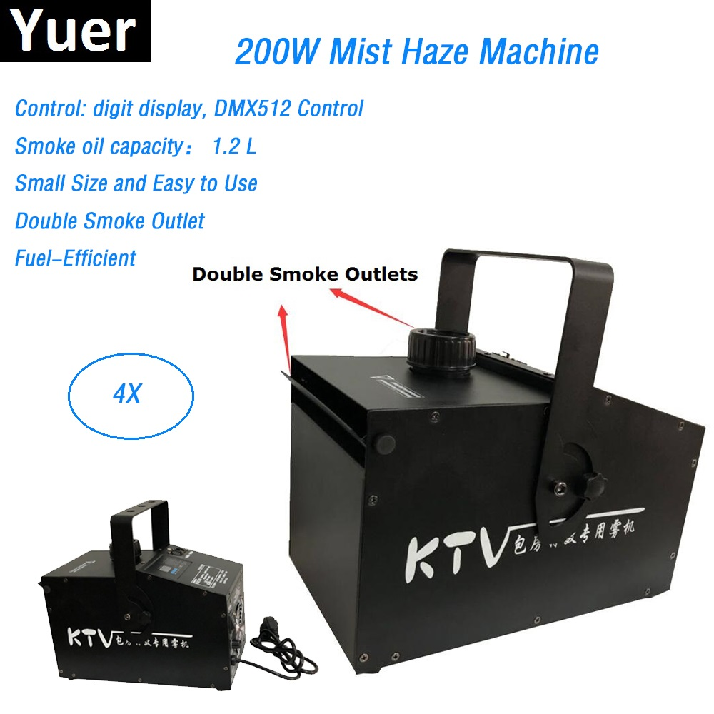 4Pcs/Lot Double Smoke Outlet 200W Mist Haze Machine DMX512 Control <font><b>Stage</b></font> <font><b>Hazer</b></font> Machine DMX Fogger Dj <font><b>Stage</b></font> Effect Equipments image