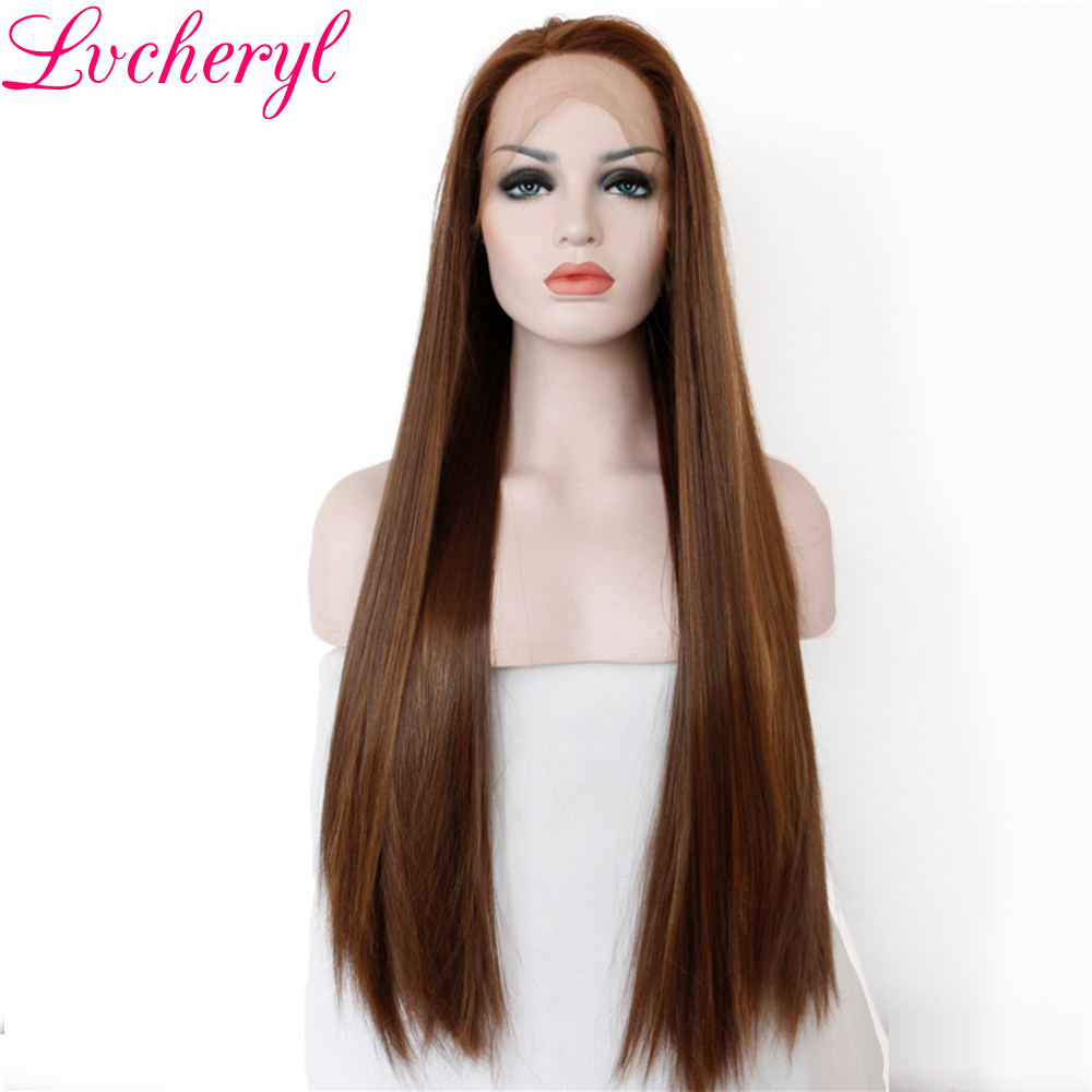 Lvcheryl High Temperature Fiber Dark Brown Highlight Long Straight Hand Tied Heat Resistant Hair Synthetic Lace Front Wigs