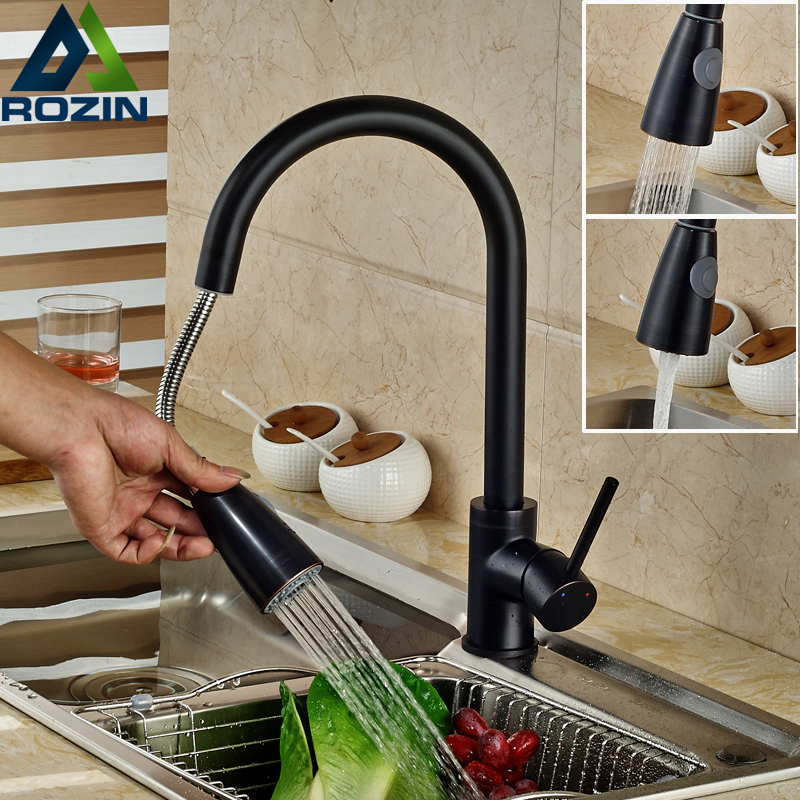 Oil Rubbed Bronze Kitchen Sink Mixer Faucet Single Lever Pull Out with Hot and Cold Water Kitchen Washing Taps oil rubbed bronze centerset bathroom vessel sink faucet single lever with hot and cold water black washing basin mixer taps