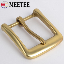 Meetee 40mm Solid Brass Belt Buckle For Men Women Metal Pin Buckle Head For Belt 38-39mm DIY Leather Craft Jeans Accessories стоимость