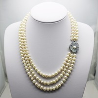 Fashion Popular 7 8mm Natural White Pearl Necklace 3Rows Neck Chain Shell Clasp Accessories For Women