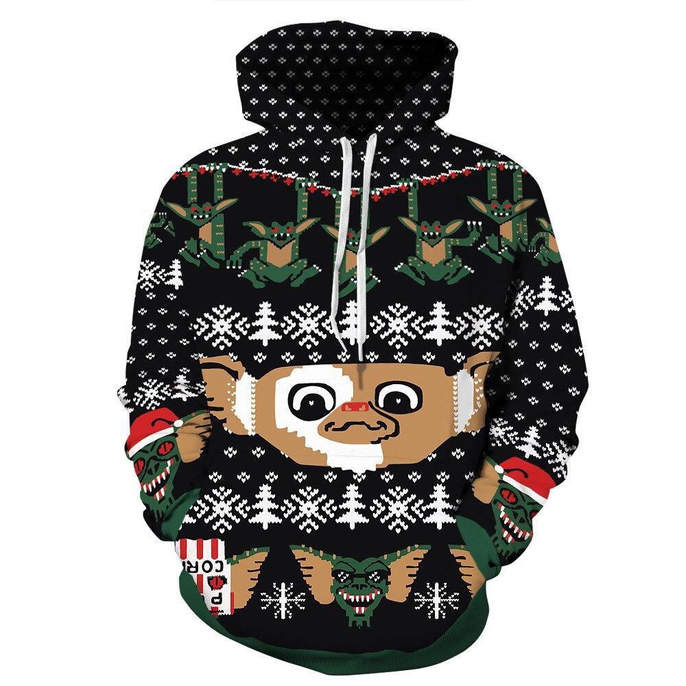 Harajuku Santa Monster Pattern Christmas 3D Digital Print Streetwear Mens Sweater Hip Hop Women Pull Christmas Sweater Couple