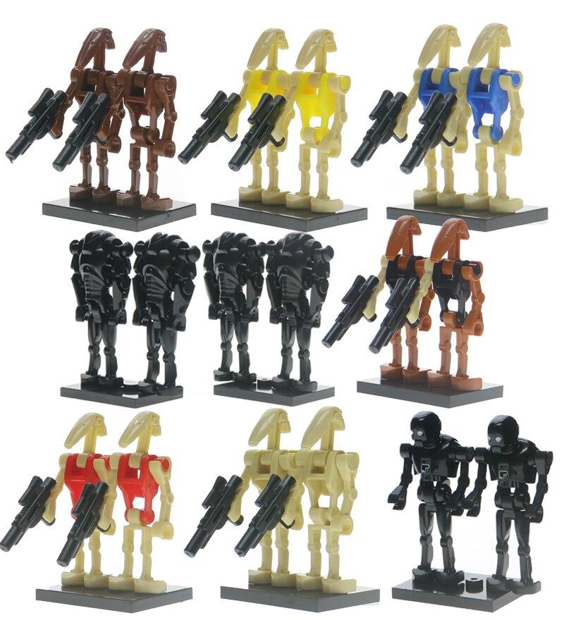 For Legoelys Star Wars Figures Battle Droid Grievous Han Solo Zander Clone Trooper Yoda Starwars Building Blocks Toys S
