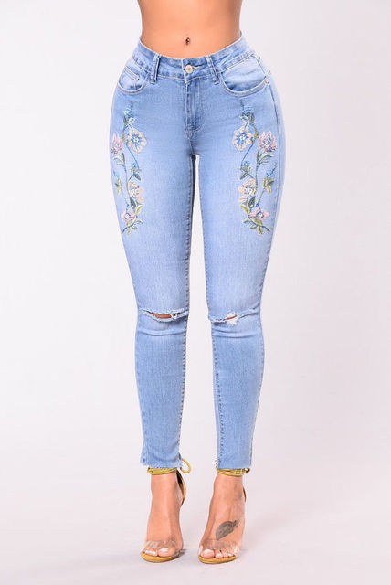 Embroidery high waist woman jeans skinny Vintage pants Stretch pencil female bottom Elastic Denim trousers mujer