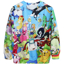 Hot Sale Harajuku Women Hoodies With Hood 3D Printed Loose Long Sleeve Pocket Sweatshirts Casual Adventure Time FINN Hoodies