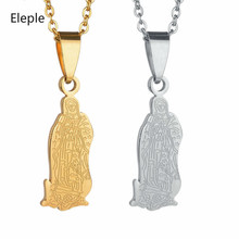 Eleple Christian Virgin Mary Necklaces for Women Boutique Stainless Steel Goddess Madonna Pendant Necklace Gifts Jewelry S-N234