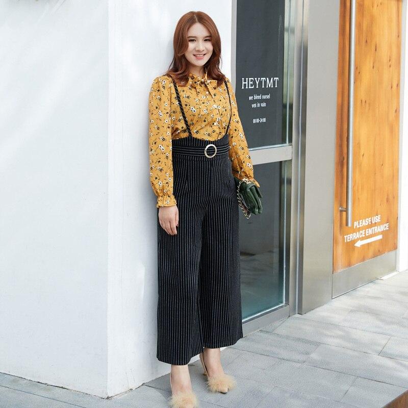 M- 4xl 5xl Floral Print Blouse Pants Suit Set Big Size Women 2 Piece Set Stripe Wide Leg Pants Twinset Long Pantsuit S472