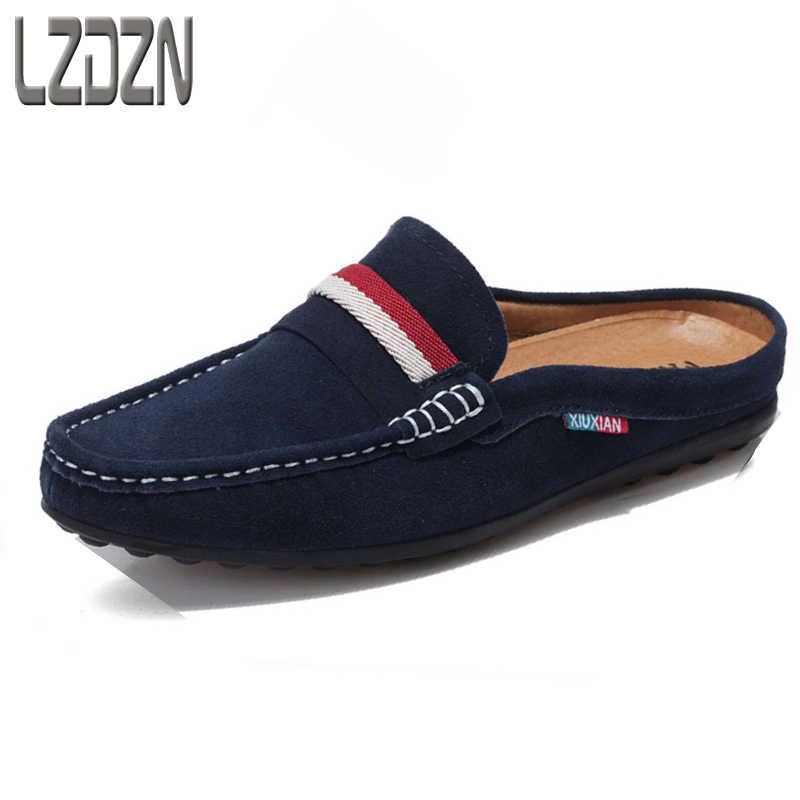 0c734664b6 El verano medio sandalias de cuero zapatillas perezoso verano sandalias  Baotou Zapatos de cuero de los