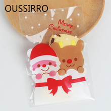 2018 Candy Box Santa Claus Bear Cookie Bags West Point Bag Christmas Gifts Cookies Plastic Gift Happy Birthday Decoration