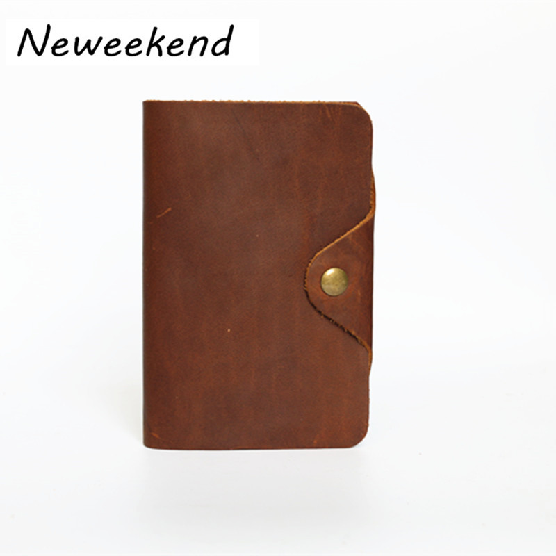 NEWEEKEND 002 Retro Casual Genuine Leather Cowhide Crazy Horse Vertical Red Photo Coin Card Cash Wallet Purse Holder for Man 19% crazy horse leather billfolds wallet card holder leather card case for men 8056r 1