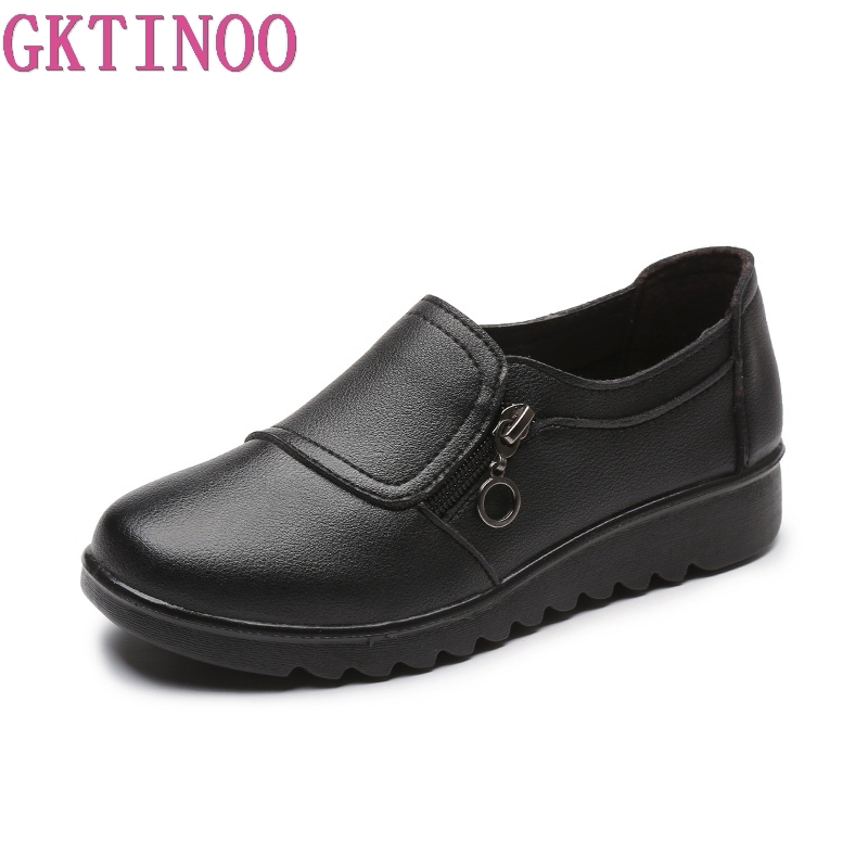 Image 2 - GKTINOO New Autumn Womens Shoes Fashion Casual Women Leather Flat Shoes Ladies Slip On Comfortable Black Work shoes FlatsWomens Flats   -