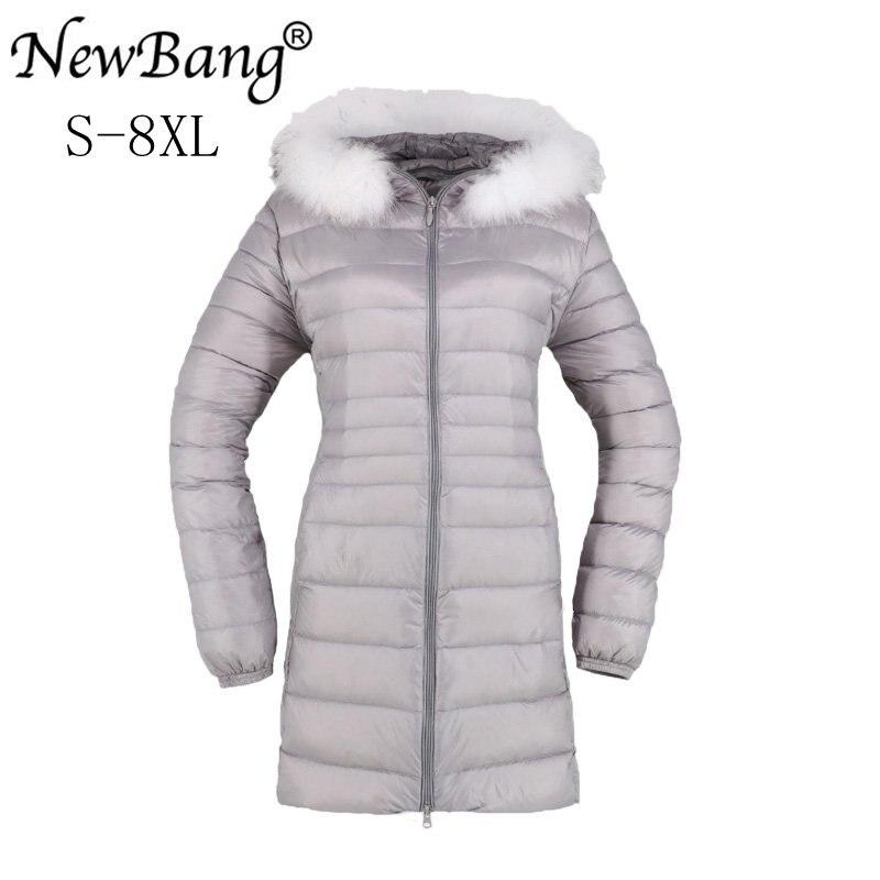 NewBang Brand 6XL 7XL 8XL Down Coat With Fur Female Down Jacket Women Long Winter Women's Warm Down Jacket Woman Hooded
