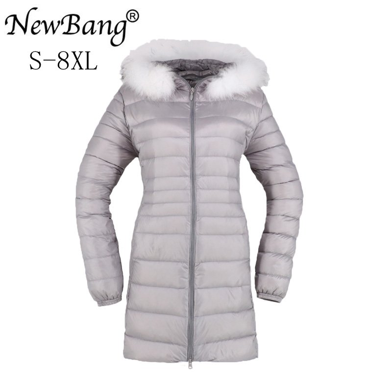NewBang Brand 6XL 7XL 8XL   Down     Coat   With Fur Female   Down   Jacket Women Long Winter Women's Warm   Down   Jacket Woman Hooded