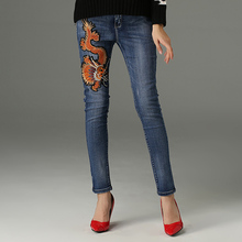 woman long jeans runway luxury dragon Embroidered pencil Jeans Female mid waist Denim Pant zipper fly Chinese style denim female