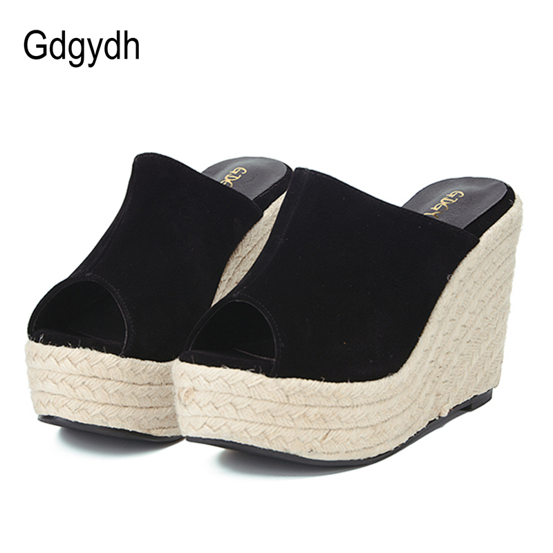 Gdgydh 2018 New Summer Platform Wedges Sandals Fashion High Heels Slip On Women Shoes Black Flock Female Casual Shoes Size 40 2017 new women s genuine leather pumps female casual shoes sexy lady medium heels fashion high wedges platform flower slip on