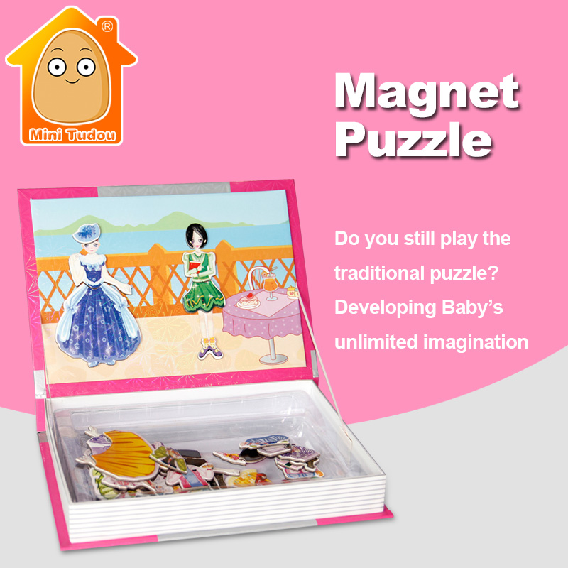 MiniTudou Board Game Puzzles Magnetic Kids Toys IQ Puzzle Montessori Educational Toy Dress Up Games For Girls
