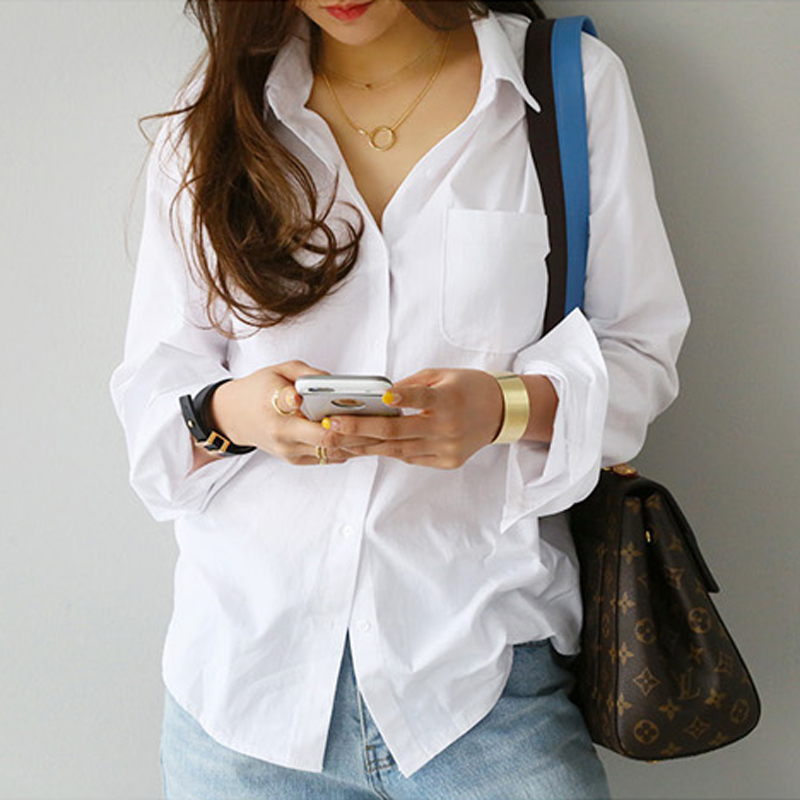 2019 Spring One Pocket Women White Shirt Female Blouse Tops Long Sleeve Casual Turn down Collar