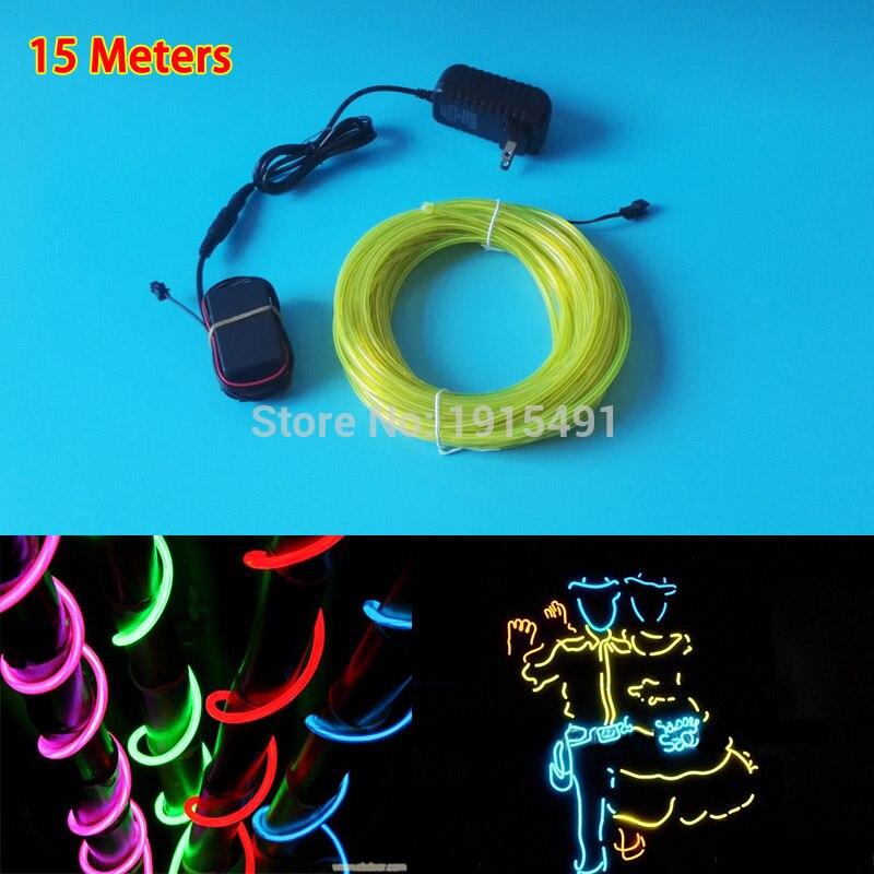 Vente chaude 15 mètres 5.0mm 10 couleurs à la mode EL fil LED lumineuse bande + conducteur de AC-220V pour l'éclairage de vacances, décoration d'halloween