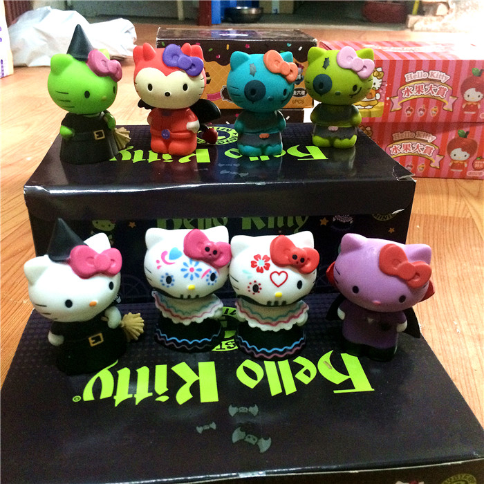 8pcs/1set Sanrio Tokidoki Hello Kitty Halloween collection action figure doll 6.5cm box package Mini Japanese Cartoon anime toy