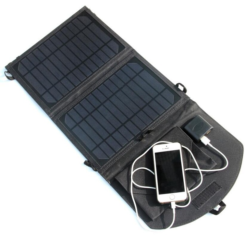 10W 5V Portable Solar Cell Charger Monorystalline Fodable Solar Panel Charger Dual USB Output Black High Quality Free Shipping