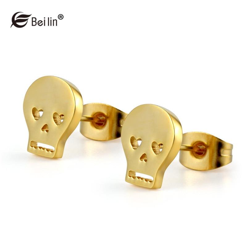 BEILIN Brand Fashion Stainless Steel Skull Stud Earrings Punk Rock Jewelry Women Men Earrings Boucle doreille AU800035