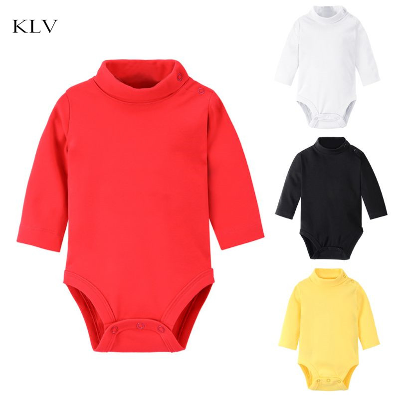 Newborn Baby Turtleneck Body Cloth Long Sleeve Cotton Solid Shoulder Snaps Romper New