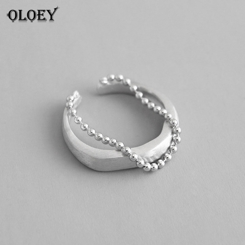 OLOEY 100% Pure 925 Sterling Silver Matte Surface Small Round Beads Chain Tassel Open Rings For Women Fine Jewelry Gifts YMR786