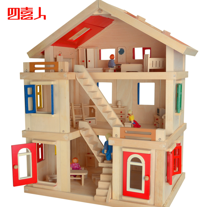 free shipping model toy diy solid wood child big doll