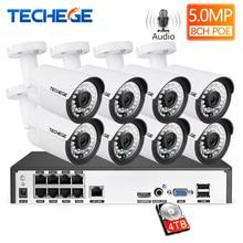 Techege 8CH סופר HD 5MP אודיו מעקב מערכת 2592*1944 עמיד למים חיצוני IP מצלמה זיהוי תנועת טלוויזיה במעגל סגור מצלמה מערכת