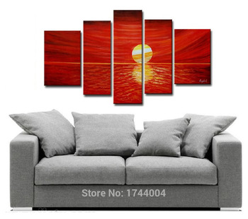100% Hand-Painted High Quality Modern Red Sunset Seascape Oil Painting On Canvas Abstract Landscape Wall Picture For Living Room