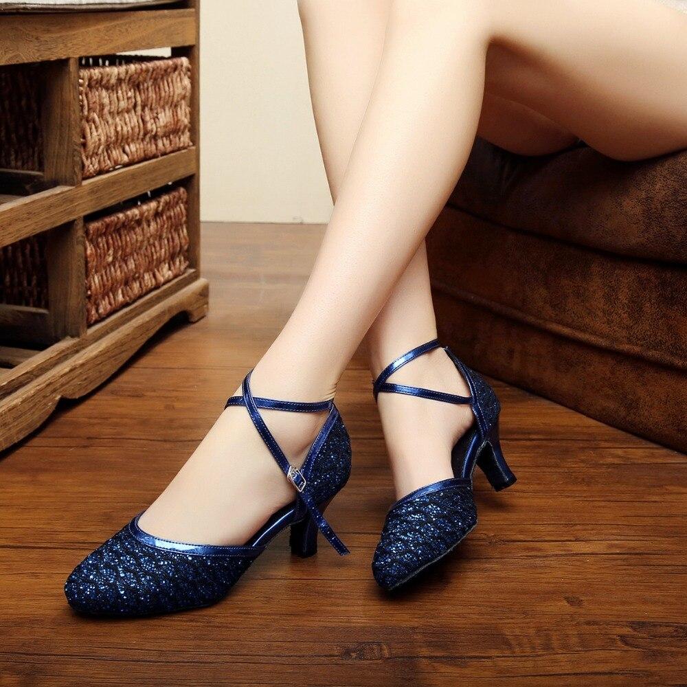 Women Ballroom Latin Dance Shoes Female Salsa Sandals High Heels 6cm Tango Samba Modern Dance Shoes Soft Sole 1669