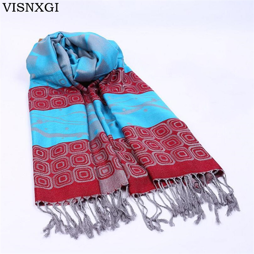 VISNXGI New 2018 Womens Scarf Long Fashion Casual Warm Polyester Shawl Plaid Infinity Scarf Knitted Scarf Women Winter Scarves