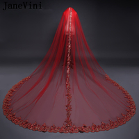 JaneVini Red Bridal Veils 3M Cathedral Veil Gold Sequined Applique Edge One Layer Wedding Veils with Comb Long Bride Accessories