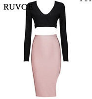 100% Rayon new sexy bodycon career package hip Slim stretch wrap pencil bandage dress party prom casual 2pcs set Bandage Dress