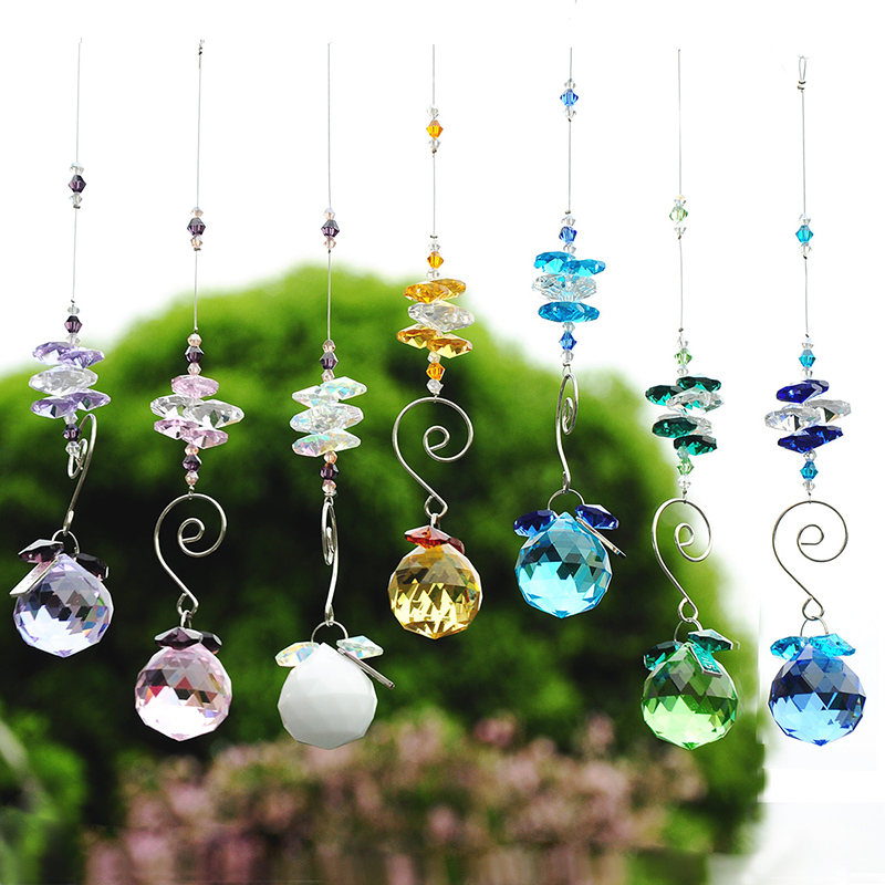 H&D 30mm Rainbow Octagon Hanging Ball Pendant Crystal Prism Suncatcher (Blue)