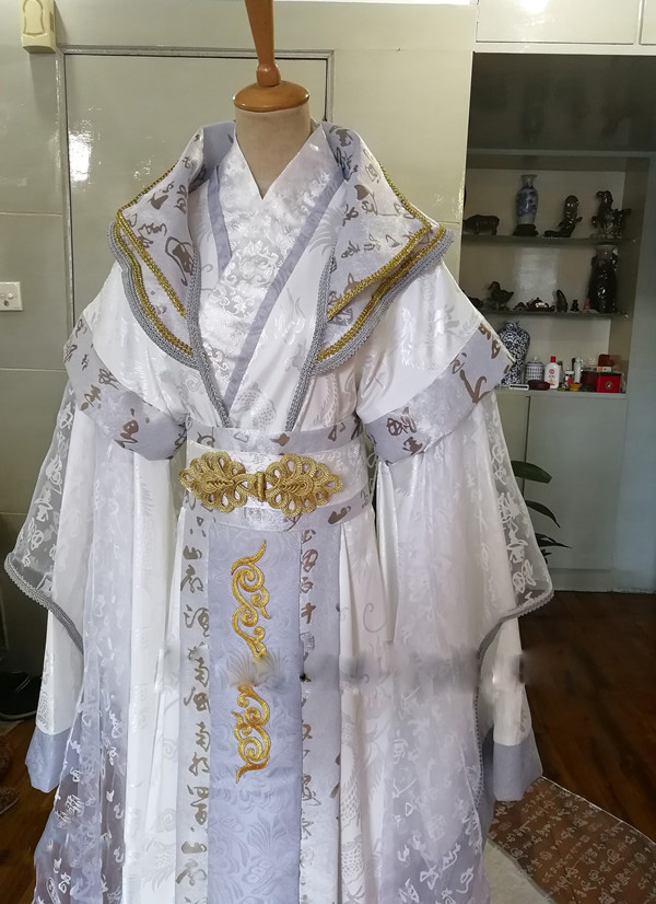Tailed White Grey Wide Sleeve Male Costume Hanfu Stage Performance Costume for Prince Childe Hanfu