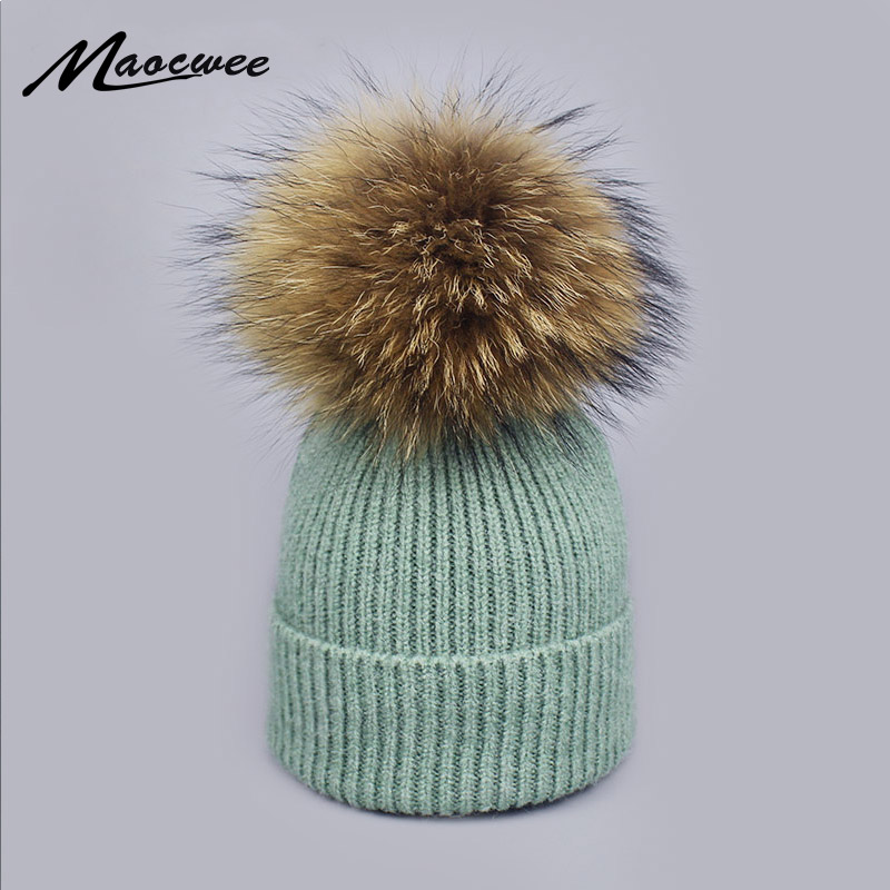 Women Raccoon Wool Fox Fur PomPoms Warm Knitted High Quality Vogue Winter Hats Skullies Beanies Parenting Fleece Crochet Cap