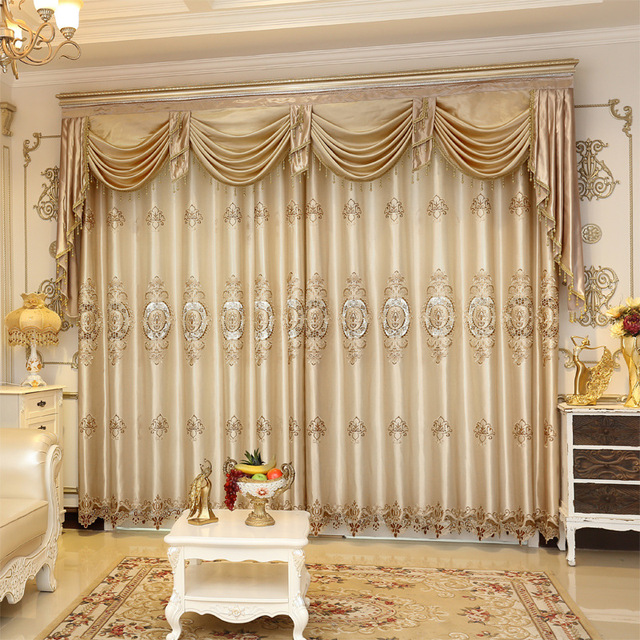 2016 Weekend European Luxury Blackout Curtains For Living Room Champagne Flor