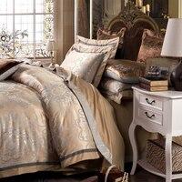 4pc Gray gold Jacquard bedding sets queen king size duvet cover set Silk Cotton blend Fabric luxury bedlinen