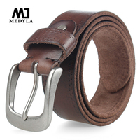 MEDYLA New Original Cowhide Brown Men's Belt Jeans Casual Pants Men's Genuine Leather Belt Men's Gift MD532