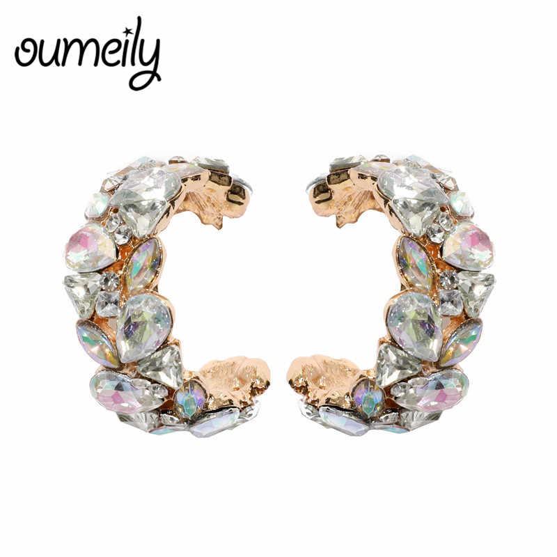 OUMEILY New Fashion ZA Resin Drop Dangle Earrings for Women Boho Elegante Crystal Earings Shiny Metal Oorbellen Brincos