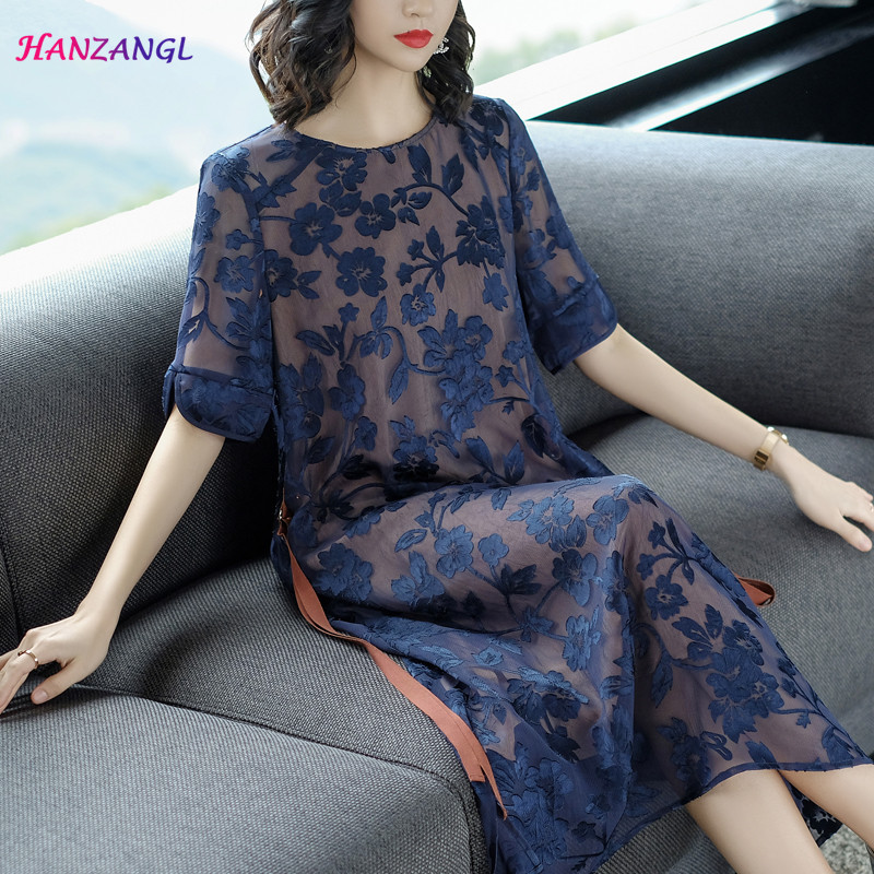 HANZANGL New 2018 Summer season Girls Gown Quick Sleeve O Neck Heavy Embroidery Gown Giant Measurement Unfastened Informal Mom Clothes Attire, Low cost Attire, HANZANGL New 2018 Summer season...