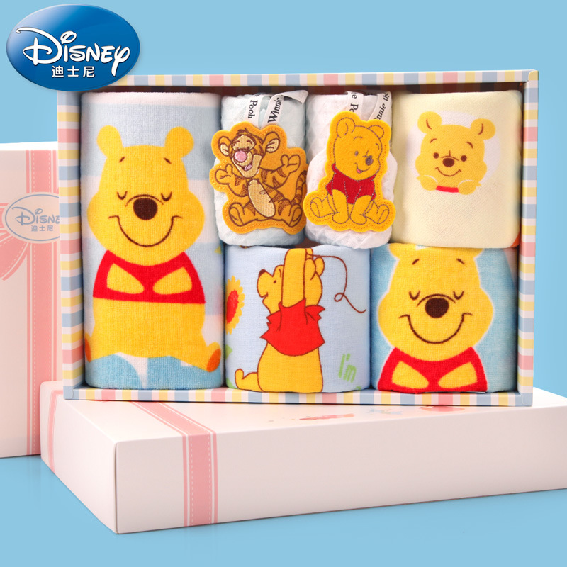 Disney Winnie Pooh Childrens Towel 6 Pieces/Set Gift Box Cotton Towel 34.5*24*6cm Childrens Towel Gauze ...