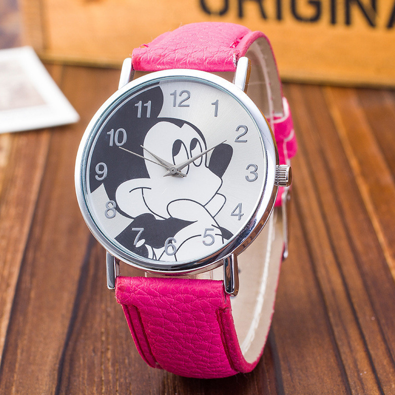 2017 MEIBO Mouse Pattern Fashion Children Watches New Casual Leather Strap Analog Clock Quartz Wristwatch Bayan Kol Saati