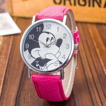 2017 MEIBO Mouse Pattern Fashion Children Watches New Casual Leather Strap Analog Clock Quartz Wristwatch Bayan Kol Saati